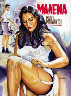 Monica Bellucci Malena movie poster,painting portrait acrylic colors on canvas,by kostas Soutsos,buy original art or print for sale Monica Belluci Malena, Monica Bellucci Movies, Giuseppe Tornatore, Yves Montand, Movie Poster Art, Film Posters, Italian Actress, Drama Film, Portrait