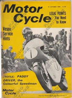 Motor Cycle Magazine 21 October 1965.  Includes article featuring South African Motorcycle racer Paddy Driver.  Price $58