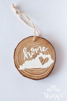 Christmas Ornament - Wood Slice Ornament - Y'all - Kentucky Christmas - Rustic Christmas Decor - KY - Fort Knox #ad