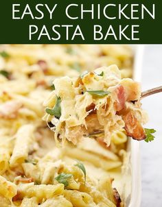 This is my Easy Creamy Chicken Pasta Bake - such a great addition to your pasta bake recipes collection! Lovely and cheesy, this recipes uses shredded rotisserie chicken - or a bbq chicken for us here in Australia! A total comfort food winner! I like to serve it with a simple salad. A great way to use up leftover chicken! #chefnotrquired #chickenpastabake