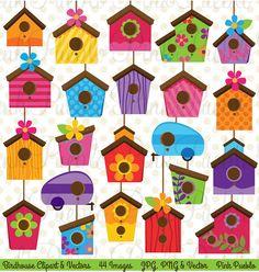 Birdhouse Clip Art Clipart Cute Whimsical Bird House by PinkPueblo, $6.00