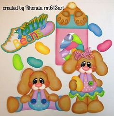 Jelly Bean Bunny Easter paper piecing set for scrapbook pages Rhonda rm613art in Crafts, Scrapbooking & Paper Crafts, Pre-Made Pages & Pieces | eBay