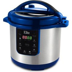Elite Platinum EPC-813BL 8 qt Electric Stainless Steel Pressure Cooker, Blue