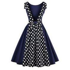 #trendsgal.com - #Trendsgal Backless Polka Dot Print Vintage Dress - AdoreWe.com