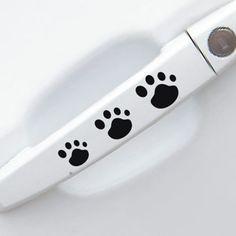 Empreinte poignées pour porte de voiture autocollant personnalisé autocollants pour voiture, main dans la main chien empreintes autocollants de voiture
