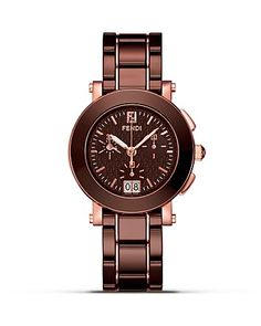 @Nyla Hashmi Fendi Round Ceramic Chrono Stainless Steel Watch, 38mm - Fine Watches - Shop by Style - Fine Jewelry - Bloomingdale's