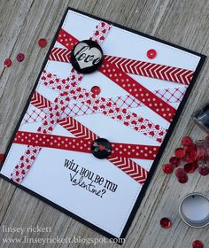 Linsey here today sharing a fun and super easy card that was made featuring ribbons from the January Ribbon Club Assortment-S. Homemade Valentine Cards, Valentines Day Cards Handmade, Happy Valentines Day Card, Greeting Cards Handmade, Homemade Cards, Ribbon Cards, Paper Cards, Stampin Up Anleitung, Tarjetas Diy