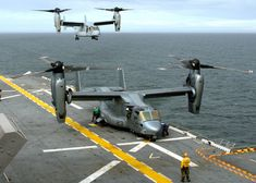Atlantic Ocean (November 15, 2005) - A U.S. Marine Corps MV-22B Osprey prepares to refuel while another Osprey approaches the flight deck of the amphibious assault ship USS Wasp (LHD 1) for landing.