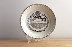 I can't believe it is sold! Retro Armadillo Pie Plate  Royal China Country by KitchenCulinaria