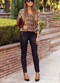 Leopard blouse + leather pants + heels + clutch