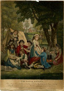 The Jovial Gipsies, A family gathered in front of a pitched tent, with a woman on the right stiring a pot on an open fire, three couples sitting nearby, including a woman plucking a goose, with a dog and a donkey on the left, a woman filling her cup standing behind the main group and a man approaching with a bundle of firewood in the background. 1794 British Museum 2010,7081.1192