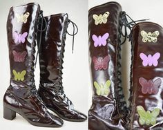 a4c90fcc1109 60s Brown Patent Leather Butterfly Applique Lace Up Knee High Go Go Mod  Boots UK 3   US 5.5   EU 36. Etsy
