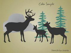 3 deer and pines
