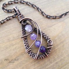 Amethyst ombre woven wire wrapped pendant by Pillar of Salt Studio