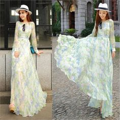 Wholesale Cheap long sleeve casual cute dresses for women elegant floral chiffon maxi long dress new fashion 2014 spring summer