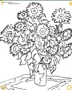 Sunflowers by Claude Monet, coloring page.