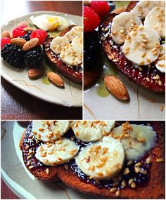 whole grain toast added black berry jam, sliced banana and flax seed. Yesterday, lots of you told me grinding flax seed would give you more benefits so I'll make sure to do that next time. I also had an egg with 1 Tbsp light syrup, almonds, raspberries and blackberries.