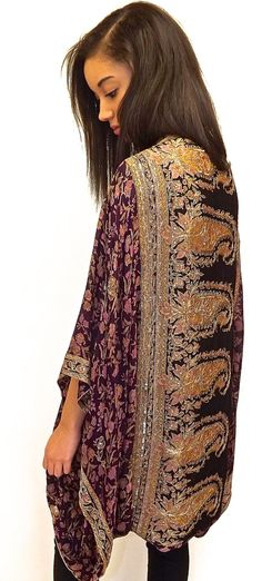 Pure Silk beaded Kimono jacket / Shrug/ cover up