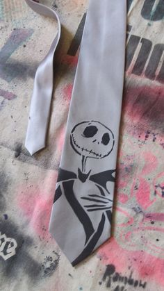 Jack Skellington Nightmare Before Christmas neck tie hand stenciled & spray painted by Rainbow Alternative on Etsy on Etsy, $16.00