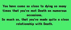 Meeting death. | PROMPTUARIUM