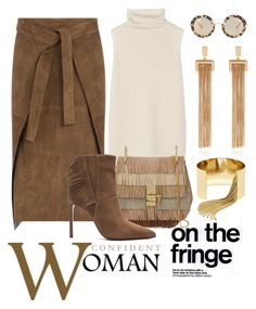"""""""Confident Woman on the Fringe"""" by conch-lady ❤ liked on Polyvore featuring The Row, Joseph, Chloé, Yves Saint Laurent, BaubleBar and Miu Miu"""