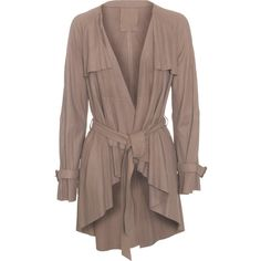 RAW+ Open Trench Bark Taupe // Leather coat with belt (5.840 NOK) ❤ liked on Polyvore featuring outerwear, coats, jackets, cardigans, tops, slim coat, brown waist belt, leather coat, leather waist belt and slim fit trench coat