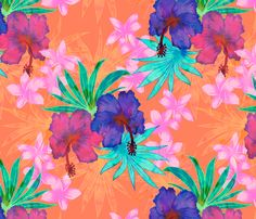 Heidi Tropical Floral Orange fabric by schatzibrown on Spoonflower - custom fabric