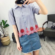 Womens Striped Print Floral Embroidered Hem Short Sleeve Shirt Blouse Tops Sml