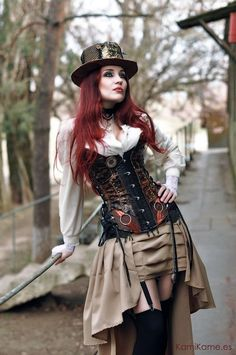 LOVE the pleated bustle skirt, hat, and gorgeous corset here!