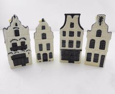 KLM BOLS Delft Miniature Houses Sealed Lot of 4 #20 #21 #23 #24 Holland Made new