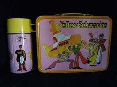 VINTAGE 1968 BEATLES Pink SUBMARINE LUNCHBOX & THERMOS SET