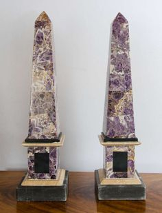 Pair of Late 20th Century Veneered Amethyst Marble Obelisks | From a unique collection of antique and modern obelisks at https://www.1stdibs.com/furniture/more-furniture-collectibles/obelisks/