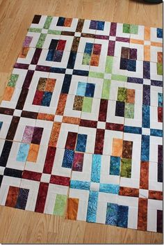 """I'm making a scrappy batik version of this quilt, its a great way to use up leftover 2 1/2"""" strips from all my batik projects."""