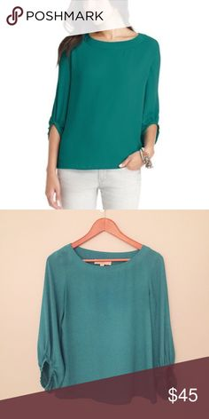 LOFT teal drama sleeve blouse Excellent used condition.  No signs of wear.  Fits TTS.  Measurements happily given upon request!  No trades. Reasonable offers welcome 🍾Note: 20% off bundles of 2+ items in my closet! LOFT Tops Blouses
