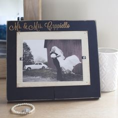 Wooden Personalized Mr. & Mrs. Wedding Photo Frame,  $64.95.