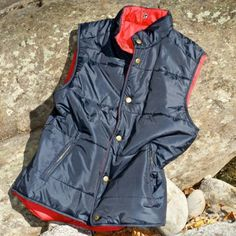 Reversible Vest in Navy and Red by Castaway Clothing