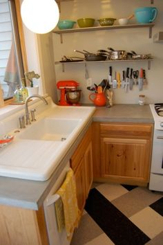 This Was The Kitchen Remodel I Did On My Last Home. It Was Done Including  All New Appliances For About $10k, Concrete Countertops, All New Woodwork  And Farm ...