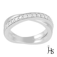 14K White Gold 0.25 CT G - H & SI2 - SI3 Round Diamond Cross Over Wedding Band #WomensWeddingBandJewelryHotspot