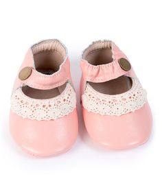 Love this Light Pink & White Crochet Leather Mary Jane Moccasin on #zulily! #zulilyfinds