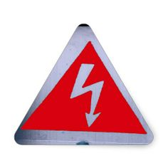 red sign - danger electricity triangle sticker