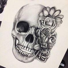 Imagen de skull, flowers, and drawing