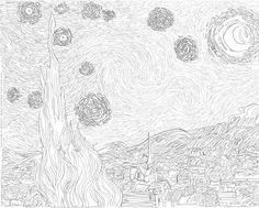 Van Gogh Starry Night Coloring Page, Vincent Van Gogh