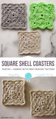 Square Shell Coasters Free Crochet Pattern Knitting For BeginnersKnitting HatCrochet PatronesCrochet Baby Crochet Home, Crochet Gifts, Easy Crochet, Crochet Kitchen, Doily Patterns, Knitting Patterns, Crochet Patterns, Square Patterns, Dress Patterns