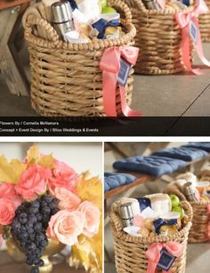 goodie baskets with ribbon