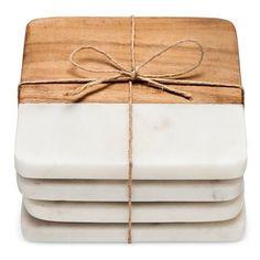 Marble & Wood Coasters Set of 4 - Threshold™ : Target