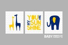 Navy, Grey, Yellow, Baby Boy Nursery art, Set of 3 8x10. Elephant, Giraffe, You are my sunshine ( DC20 ) on Etsy, $33.00