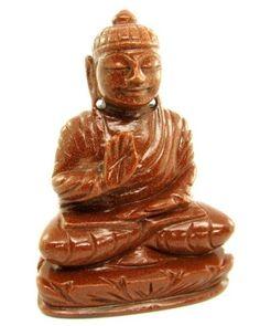 Goldstone Sunstone Carved Lord Buddha