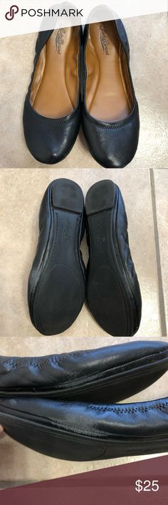 Lucky Brand black leather ballet flats size 9.5 In used condition, but still good condition  There are some scuff marks All flaws are pictured!!! Lucky Brand Shoes Flats & Loafers