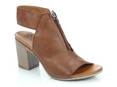 EOS Footwear 'Starro' in Brandy - Front zip up block heel boot, open toe and heel. Also available in Black, Cafe Creme and Taupe. Block Heel Boots, Block Heels, Cafe Creme, Winter Shoes For Women, Italian Leather, Eos, Open Toe, Taupe, Footwear