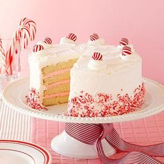 Fanciful pink peppermint frosting and snowy cake layers will brighten any holiday party. To decorate, choose between simple candy adornments (pictured) or whimsical white-chocolate trees. Chocolate Tree, Chocolate Truffles, White Chocolate, Cake Layers, Moist Cakes, Velvet Cake, Christmas Desserts, Toffee, Sugar Cookies